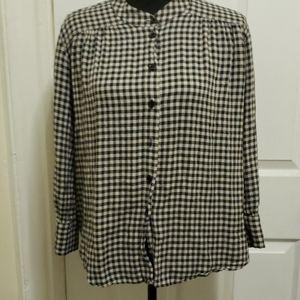 Zara Woman Plaid Shirt Black& White L